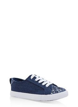Lace Up Canvas Sneakers with Glitter Detail - BLUE DENIM - 1114062725500