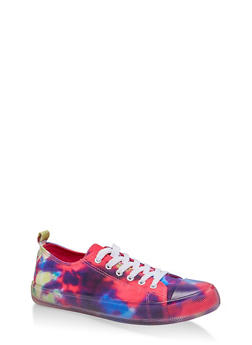 Clear Sole Lace Up Sneakers - MULTI COLOR - 1114062725655