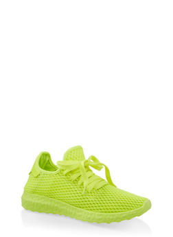 Mesh Athletic Sneakers - NEON YELLOW - 1114062729363