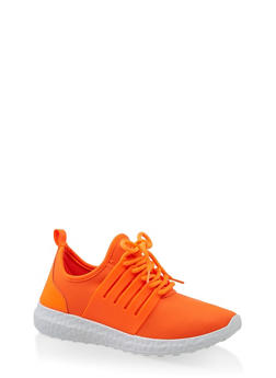 Neoprene Lace Up Sneakers - CORAL - 1114062729365