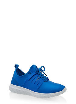 Neoprene Lace Up Sneakers - ELECTRIC BLUE - 1114062729365