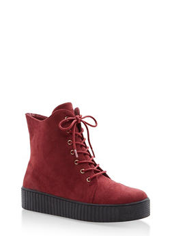 Faux Suede Lace Up Sneakers with Creeper Sole - BURGUNDY - 1114070407342