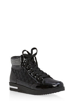 Rhinestone Embellished Lace Up High Top Sneakers - BLACK - 1114070487768