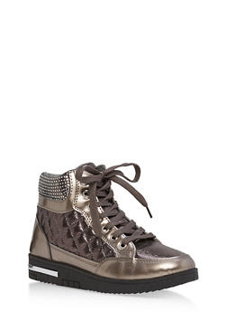 Rhinestone Embellished Lace Up High Top Sneakers - PEWTER - 1114070487768