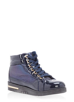 Quilted Faux Patent Leather High Top Sneakers - NAVY - 1114070487769