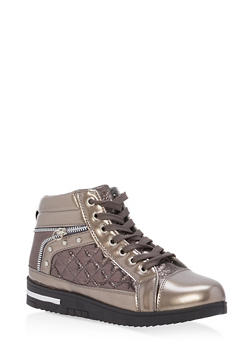 Shimmer Lace Up High Top Sneakers - PEWTER - 1114070487771