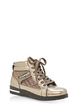 Side Zip High Top Sneakers - PEWTER - 1114070487772