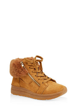 Faux Fur Cuff Sneakers - MUSTARD - 1114073116279