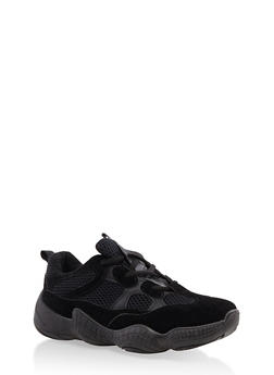 Mesh Insert Lace Up Sneakers - 1114074775253