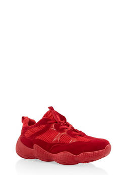 Mesh Insert Lace Up Sneakers - RED - 1114074775253