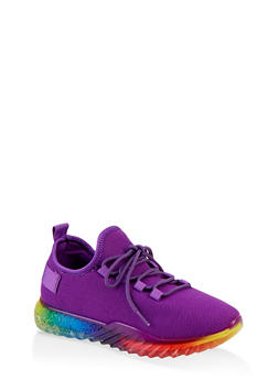 Rainbow Sole Lace Up Sneakers - 1114075935287