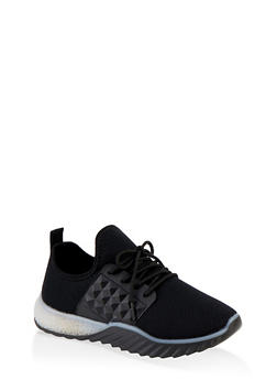 Embossed Detail Knit Athletic Sneakers - 1114075935423