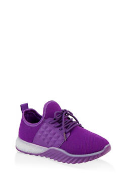 Embossed Detail Knit Athletic Sneakers - PURPLE - 1114075935423