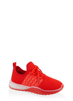 Embossed Detail Knit Athletic Sneakers - RED - 1114075935423