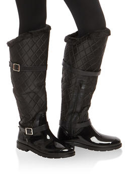 Faux Fur Lined Quilted Rain Boots - 1115014067871