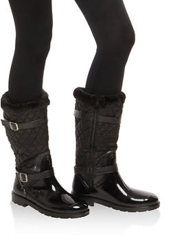 Sherpa Cuff Quilted Rain Boots - 1115014067872