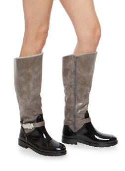 Faux Fur Lined Buckle Rain Boots - GRAY FFS - 1115014067874