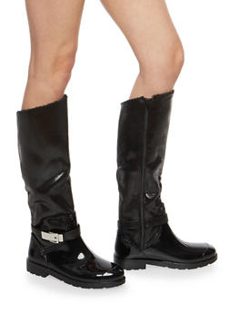 Faux Fur Lined Buckle Rain Boots - BLACK FFS - 1115014067874