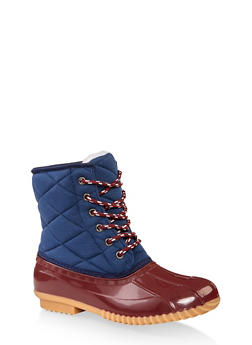 Quilted Lace Up Duck Boots - RED - 1115040321757
