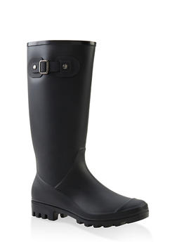 Tall Rubber Rain Boots - BLACK - 1115062726554