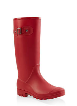 Tall Rubber Rain Boots - RED - 1115062726554