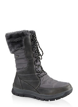 Faux Fur Lined Weatherproof Boots - 1115067245298