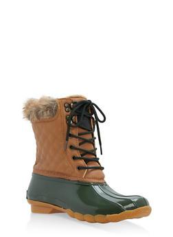 Weatherproof Faux Fur Lined Duck Boots - 1115073497845