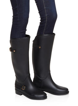 Buckle Detail Rain Boots - BLACK - 1115075807683