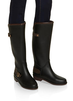 Buckle Detail Rain Boots - BROWN - 1115075807683