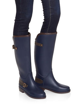 Buckle Detail Rain Boots - NAVY - 1115075807683
