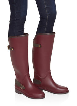 Buckle Detail Rain Boots - BURGUNDY - 1115075807683