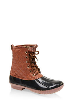 Quilted Lace Up Weatherproof Duck Boots - 1115075823825