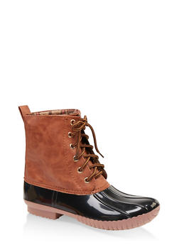 Plaid Lined Lace Up Duck Boots - 1115075823826