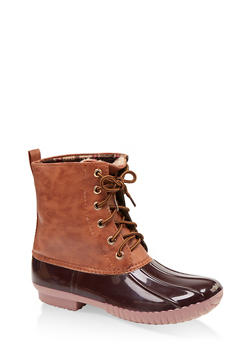 Plaid Lined Lace Up Duck Boots - BROWN - 1115075823826