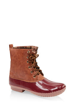 Plaid Lined Lace Up Duck Boots - WINE - 1115075823826