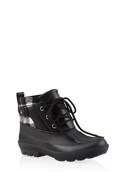 Lace Up Ankle Duck Boots - BLACK/WHITE - 1115076632355