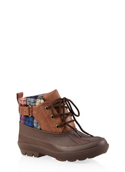 Lace Up Ankle Duck Boots - BROWN - 1115076632355
