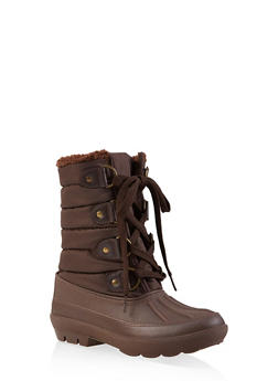 Sherpa Lined Duck Boots - BROWN - 1115076632863