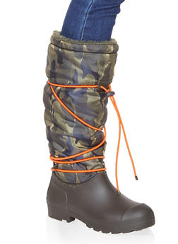 Drawstring Sherpa Lined Weatherproof Boots - HUNTER - 1115076637693