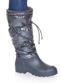 Drawstring Sherpa Lined Weatherproof Boots - PEWTER - 1115076637693