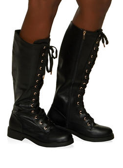 Tall Lace Up Boots - BLACK - 1116004060863