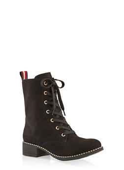 Studded Sole Ribbon Detail Combat Boots - BLACK SUEDE - 1116004062663
