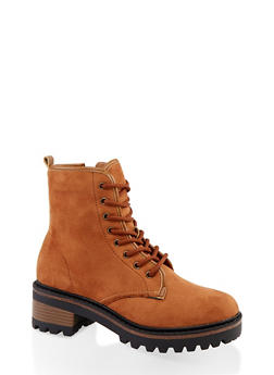 Lace Up Side Zip Combat Boots - BROWN - 1116004063347