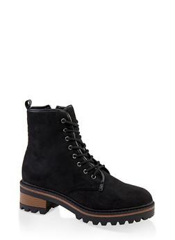 Lace Up Side Zip Combat Boots - BLACK SUEDE - 1116004063347