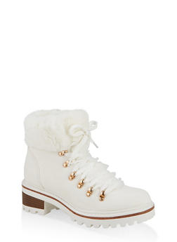 Faux Fur Lined Lace Up Booties - WHITE - 1116004063348