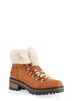 Faux Fur Lined Lace Up Booties - CAMEL S - 1116004063348