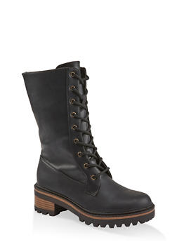 Tall Lace Up Combat Boots - BLACK - 1116004063349