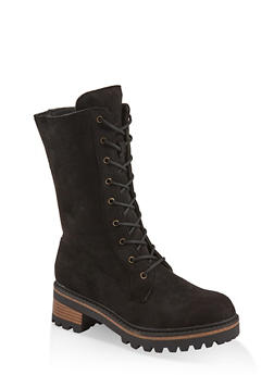 Tall Lace Up Combat Boots - BLACK SUEDE - 1116004063349