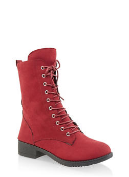 Lace Up Combat Boots - WINE - 1116004063473