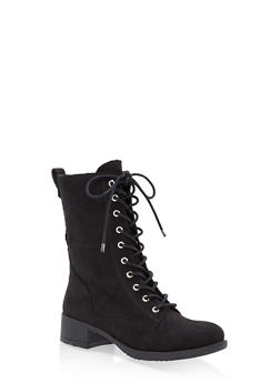 Lace Up Combat Boots - BLACK SUEDE - 1116004063473